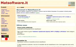 Screenshot sito www.matsoftware.it - settembre 2004