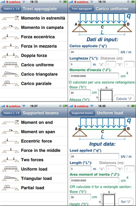 Statics 1.0 - Scelta soluzione notevole e dati di input (ITA ed ENG)